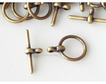 Clasp, Antiqued Gold 15.5x12mm Smooth Toggle
