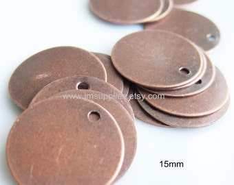 Drop Antique Copper Coin 15mm