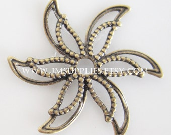 Charm, Antiqued Brass 24x24mm Single Sided Fancy Flower With Cutouts
