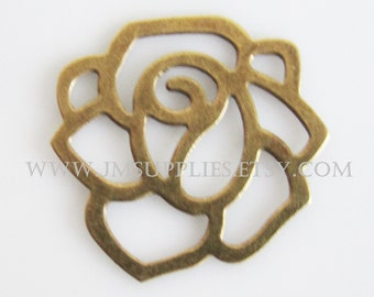 Charm, Antiqued Brass 20x20mm Fancy Flower With Cutouts