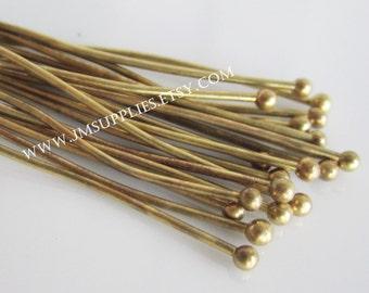 1-1/2 Inch, 21 Gauge, Antique Brass Head Pin