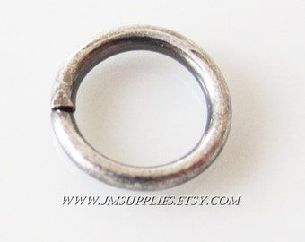 8mm, 16 Gauge Antiqued Silver Round Jumpring