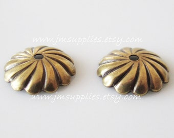 Bead Cap, Antiqued Gold 9mm Ribbed Fancy Round