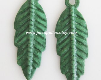 Drop, Jewel Tone Green Patina, 20x7mm Double-Sided Feather