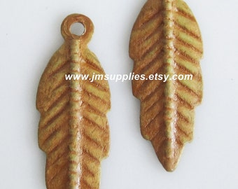 Drop, Bright Gold Patina, 20x7mm Double-Sided Feather