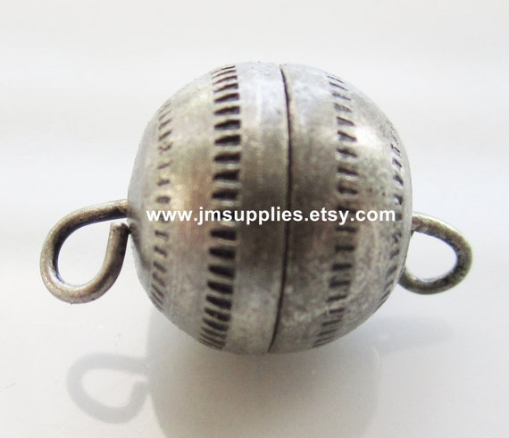 Clasp, Barrel, Antiqued Silver 11mm Textured Round With Fancy Design