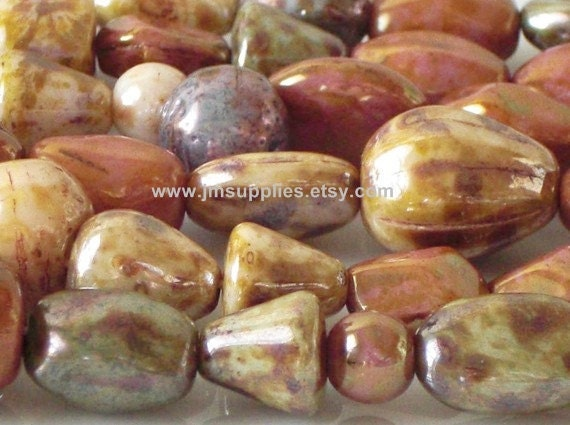 Strung Pressed Glass Bead Mix - Summer Harvest Mix
