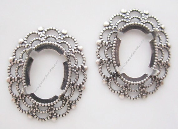 Focal, Cabochon Setting, Antiqued Silver Oval