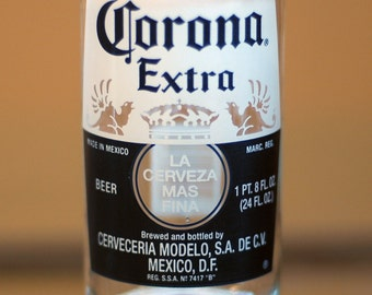 YAVA Glass -Upcycled Large Corona Extra 18 Fl. Oz. Beer Bottle Glass