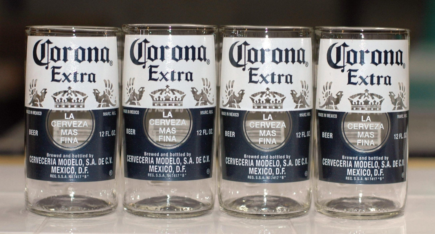 Yava glass recycled corona extra beer bottle glasses set of for How to make corona glasses