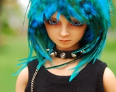 Aqua Blue Feather Wig for BJD