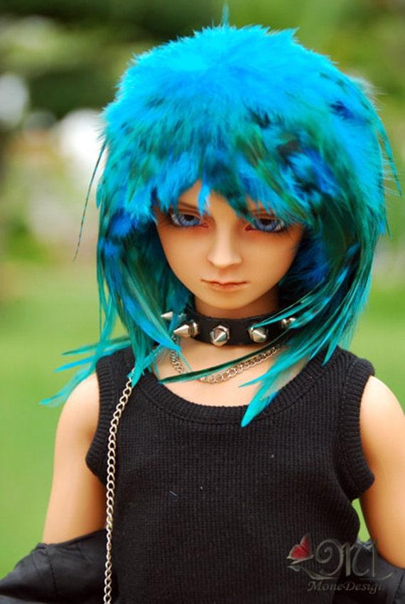Aqua Blue Feather Wig for BJD