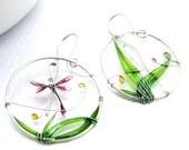 Summer Dragonfly Landscape - silver earrings