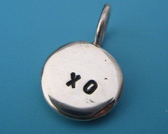 Recycled silver KISS and HUG CHARM xoxo - add initials