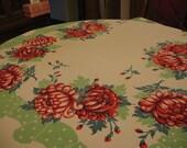 Vintage 1950's Table Cloth Red Chrysanthemums