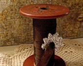 Seam Binding on Antique Spool - Vintage - DARK CHOCOLATE - French Market - Fabulous
