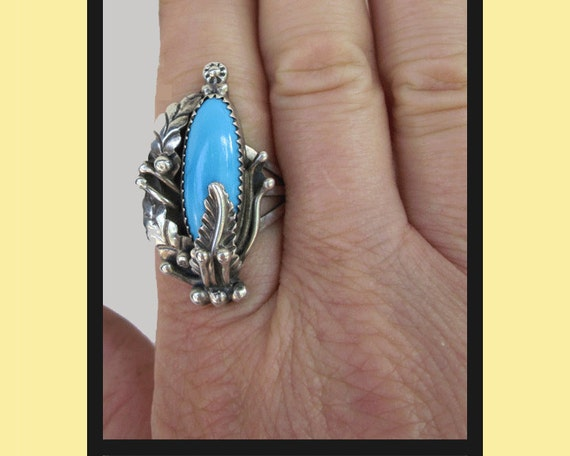 Large Fancy Setting Native American Sterling Silver Ring
