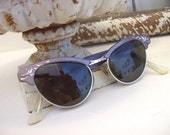 TREASURY ITEM - Vintage 1950's Etched Cat Eye Sunglasses Mid Century Lilac Silver Gray
