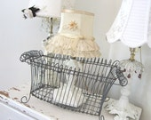 Vintage Wire Basket - Shabby French Cottage Farmhouse