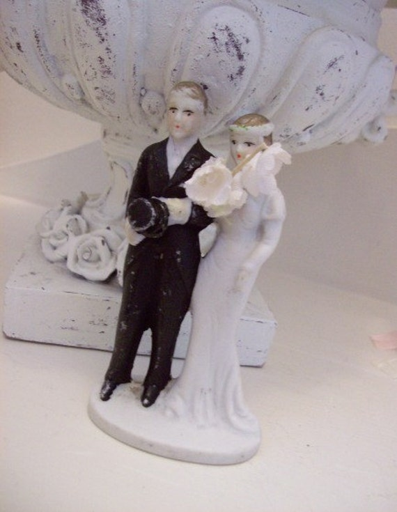 art deco wedding cake topper vintage deco flapper and groom by purpleflowerfairy 10838