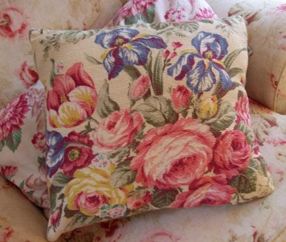 Antique Textured French Cottage Floral Barkcloth Vintage Peonies and Cabbages Roses Pillow