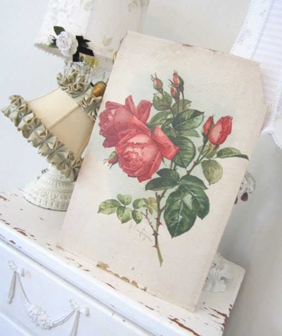 RESERVED - SALE - Vintage Paul de Longpre Roses - Antique American Beauty - Shabby French Cottage - Kalamazoo Corset Co. Advertising