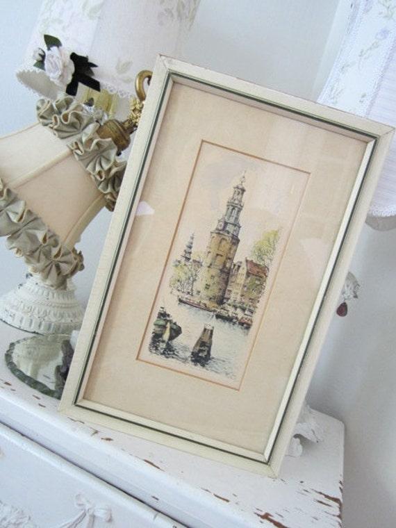SALE - Vintage Signed Original of Montelbaanstoren - Pen Ink Watercolor Hand Colored Etching - Kunsthandel Roelofs - Amsterdam
