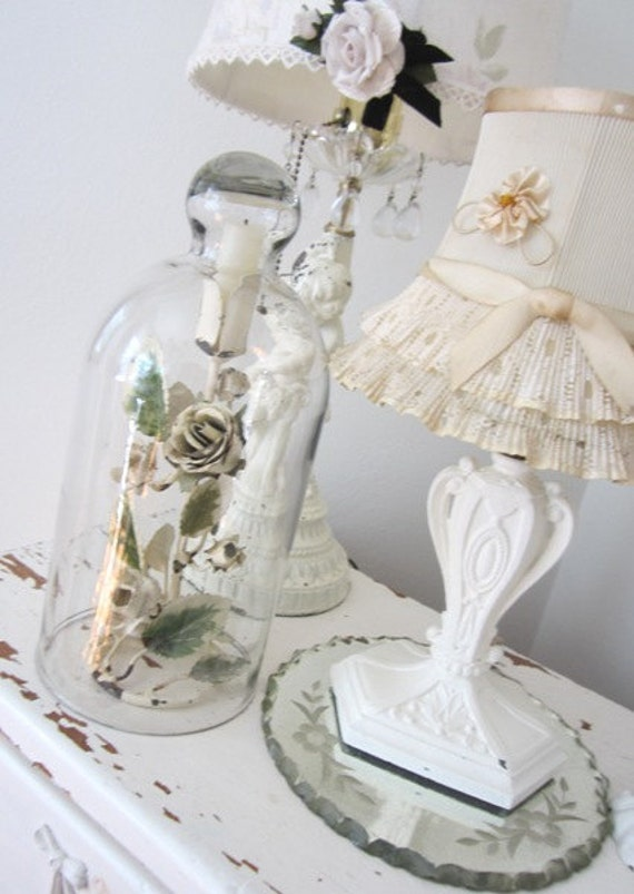 RESERVED SHELLYPERUSSE - Vintage Glass Cloche - Dome - Large - Shabby French Cottage Farmhouse Prairie Chic