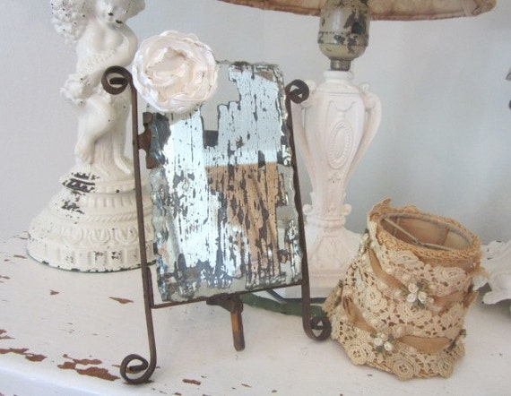 Vintage Shaving Mirror - Scalloped - Easel - Shabby Rustic Weathered French Cottage Farmhouse Prairie Chic