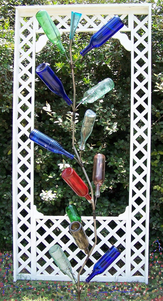 Wine Bottle Tree - Southern Classic with curves - 13 Bottle for the Garden- Folly Beach