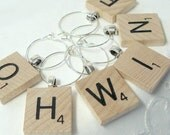 Scrabble Wine Glass Charms - Wood - Your Choice of 6 Letters  - Personalized - Except J - Natural wood letters - Holiday Gift Bling Retro