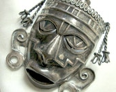 Vintage Mexican Brooch Face Mask - Sterling Silver Fierce Tribal Pin Mexico Boho Ethnic - can be worn as a pendant