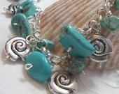 Turquoise Blue Bracelet Sea Creature Snail Seashore Charm