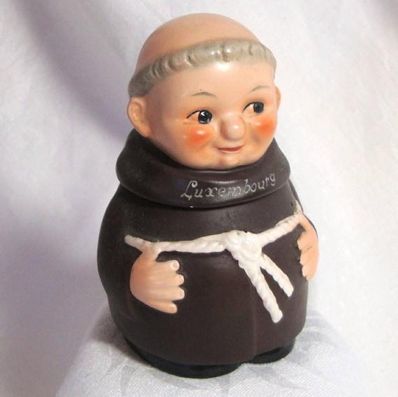 Vintage Friar Monk Hummel Figurine Lidded Dish Or Mustard Pot