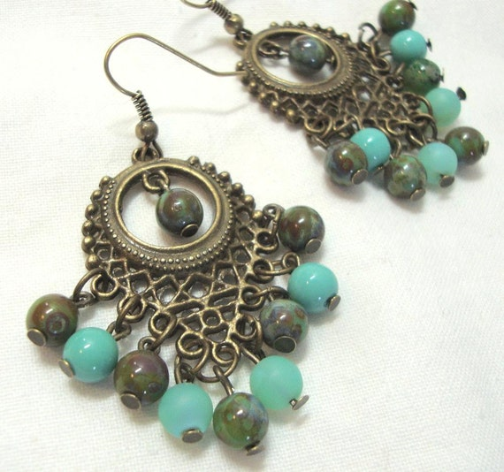 Aqua Earrings Antique Brass Boho Czech Glass Dangle