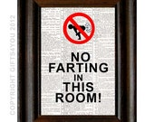 NO FARTING in this room dictionary print fart art print on vintage upcycled dictionary black red humorous room decor 5x7 unframed wall art