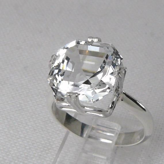 Custom Cut Asscher Design Silver Topaz Ring