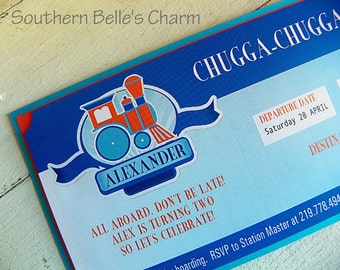 Train Boarding Pass Invitations...Set of 10 Invitations
