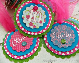 Garden Tea Party Personalized Favor Tags...Set of 12 Favor Tags with Custom Wording.