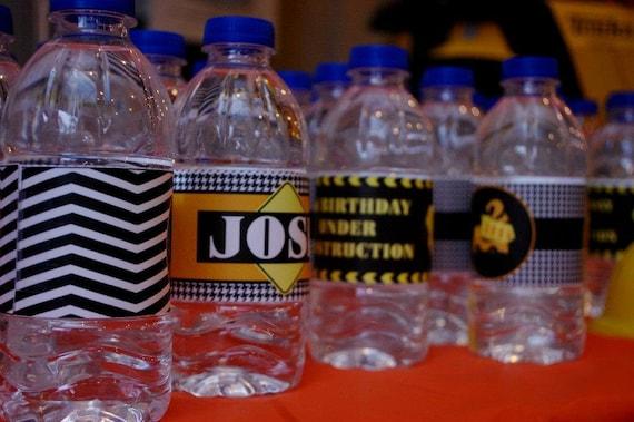 Construction Dump Truck Water Bottle Labels...Set of 12 Water Bottle Labels