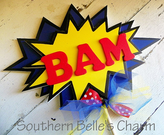 Superhero/Comic Centerpiece....Set of 1 POW or BAM Table Centerpiece