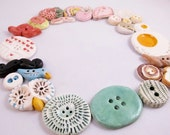 5 Ceramic Buttons - Variety Pack -  Gifts for Her - FREE DOMESTIC SHIPPING