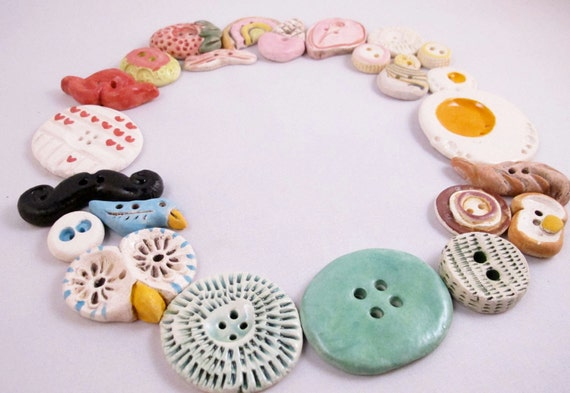 10 Ceramic Buttons - Variety Pack - Gifts for Her - FREE DOMESTIC SHIPPING