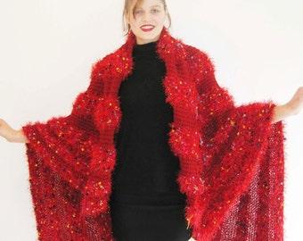 Red Faux fur  stripe shawl/throw