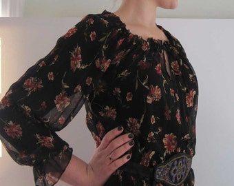 Basia Designs Black Silk with Roses Peasant Blouse
