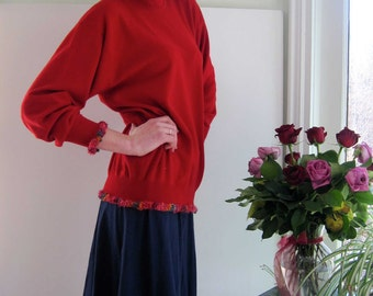 Basia Designs Upcycled Hybrid Red Cashmere Turtleneck Pullover with Multi Color Trim