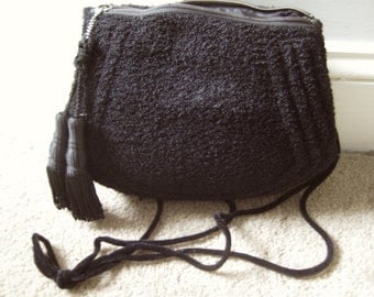 Black Wool Boucle Purse Muff with shoulder strap and tassels from Basia's Personal Vintage Collection