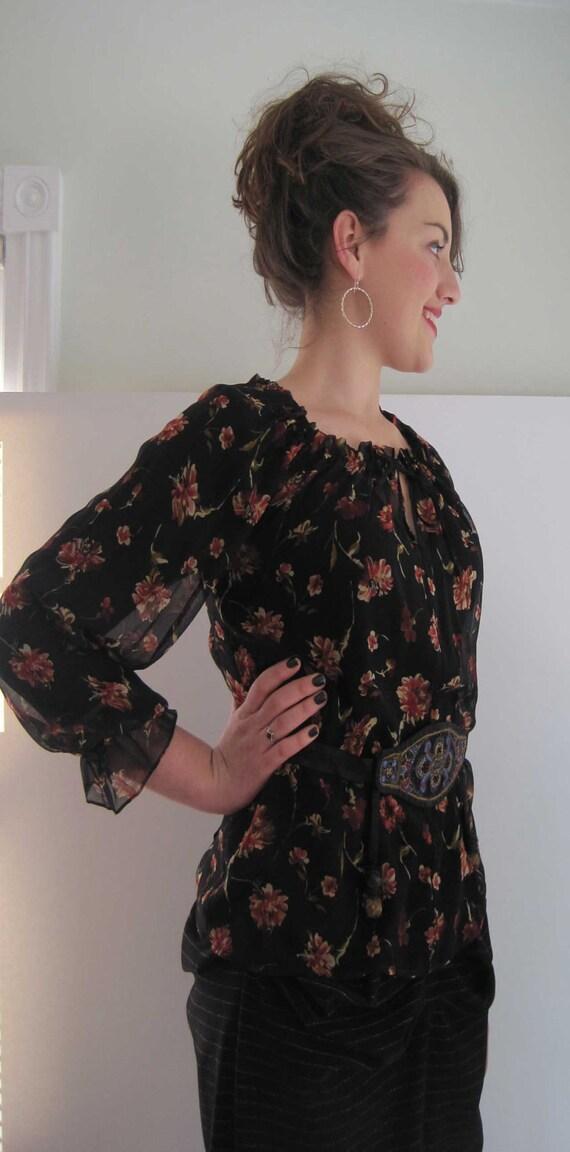 Basia Designs Black Silk with Roses Peasant Blouse
