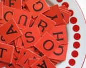 32 Red Vintage Letter Tiles