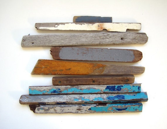 Colorful Beach Salvage.  Found Painted Driftwood Collection in Blues and Greys